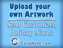 Upload your own artwork to send customized holiday eCards.