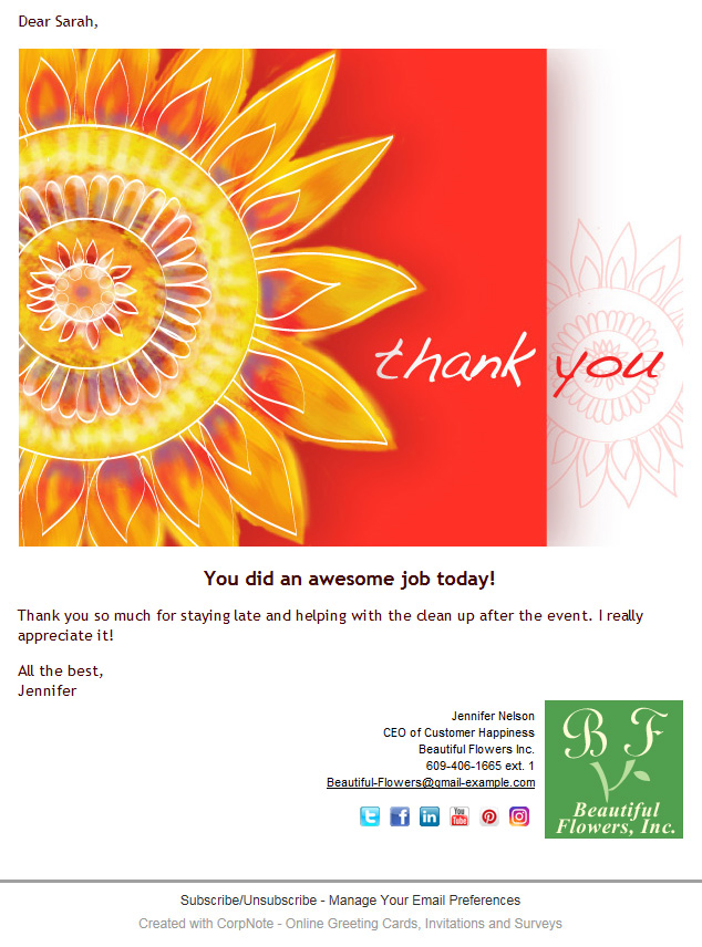 Thank you eCard example that shows all of the signature options including the eCard signature with social media links.