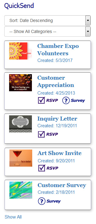 How to create a QuickSend template for eCards, invitations and surveys.