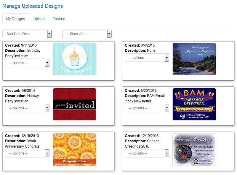 How to manage your custom eCard and invitation designs.