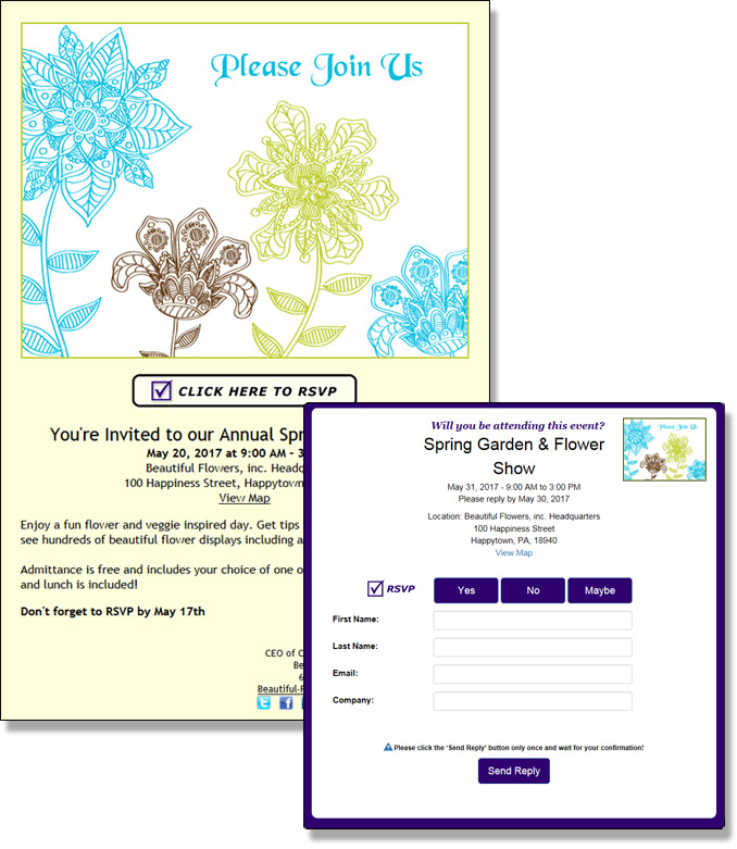 The Online Invitation Manager allows you to electronically manage event RSVP's from an eCard, your website, blog, social media or email program.