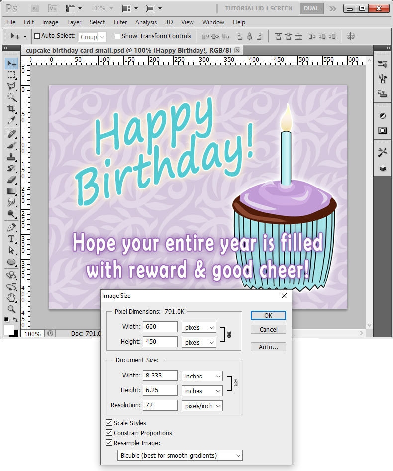 Making an eCard in Photoshop and setting the image size to 600 x 450 pixels.