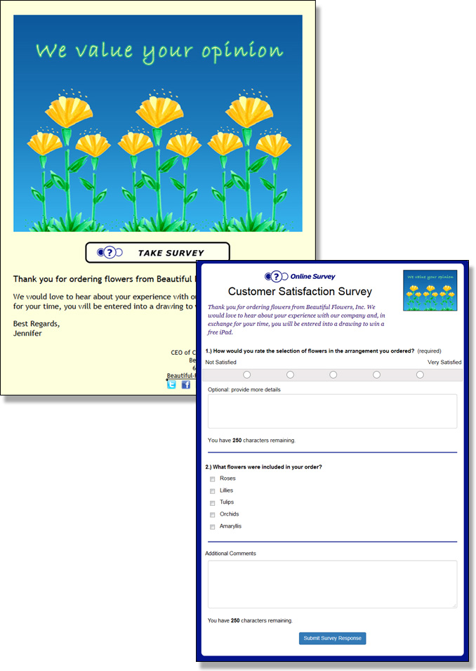 Guests can respond to your survey from a link in an eCard or a direct link to the survey response form.