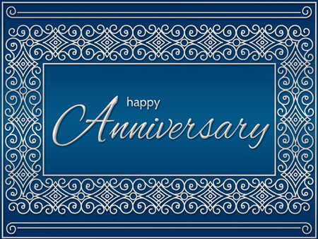 Anniversary eCard with silver foil decorative border.