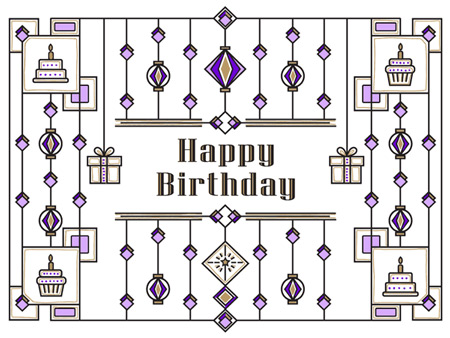 Birthday eCard with line work detail.