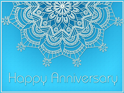 Anniversary eCard with blue and white mandala