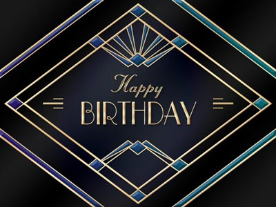 Birthday eCard Black Art Deco