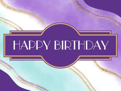 Birthday eCard with Purple Swirls