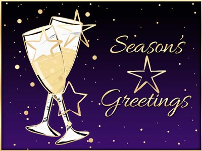 Holiday eCard with Champagne Glasses