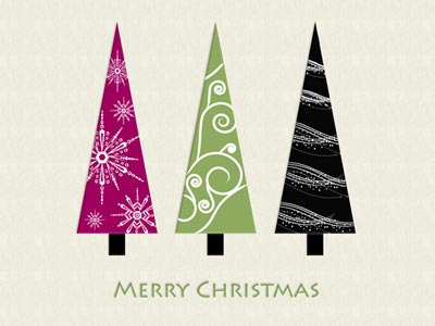 Merry Christmas eCard with Christmas Paper Trees