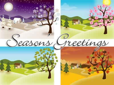 Holiday eCard with Four Seasons Trees