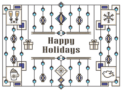 Holiday eCard with geometric design in blues
