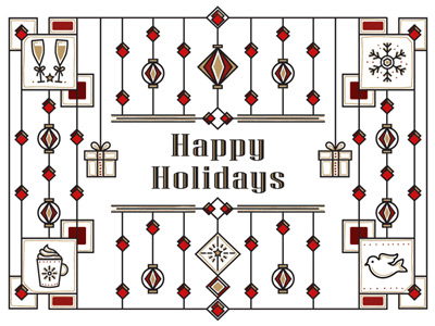 Holiday eCard with geometric seasons greetings design in red