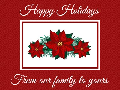 Holiday eCard with Red and White Poinsettia