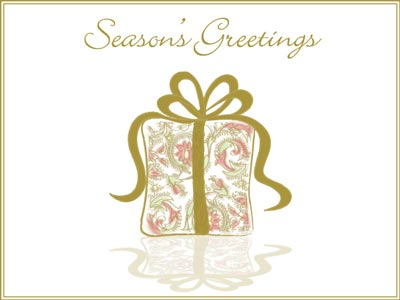 Holiday eCard with Seasons Greetings Present