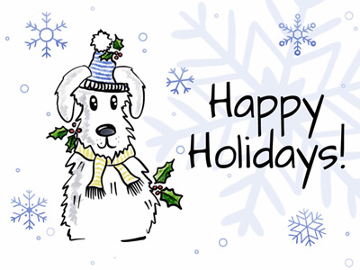 Holiday eCard with winter puppy and snowflakes