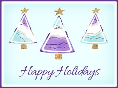 Holiday eCard with Purple & Teal Trees