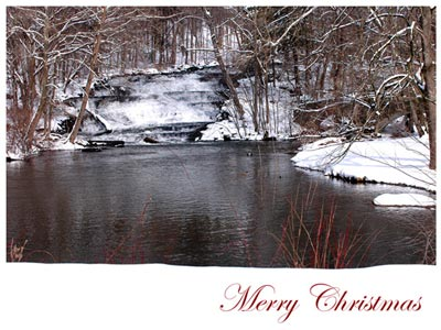 Merry Christmas eCard with Snow Waterfall Scene