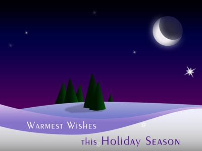 Animated Holiday eCard with Purple Moon
