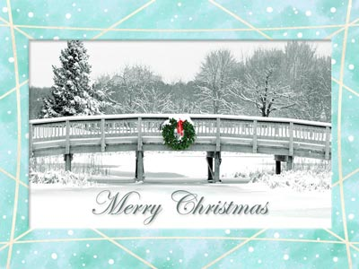 Holiday eCard winter scene photo with wreath