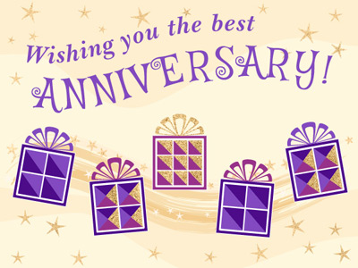 Anniversary eCard with glitter presents