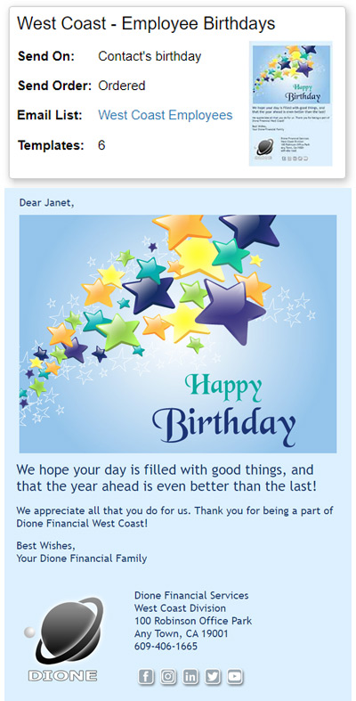Employee Birthday eCards can be personalized to include each person's first name.