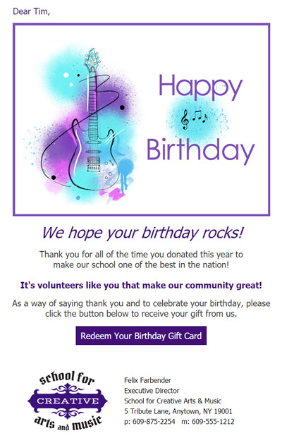 Schools can send birthday eCards to employees and volunteers.