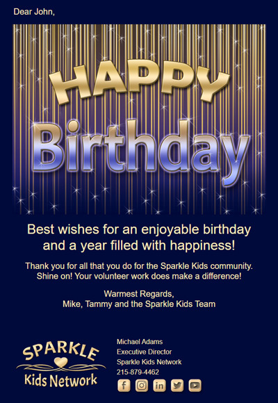 Nonprofits can send birthday eCards to their volunteers while also thanking them.