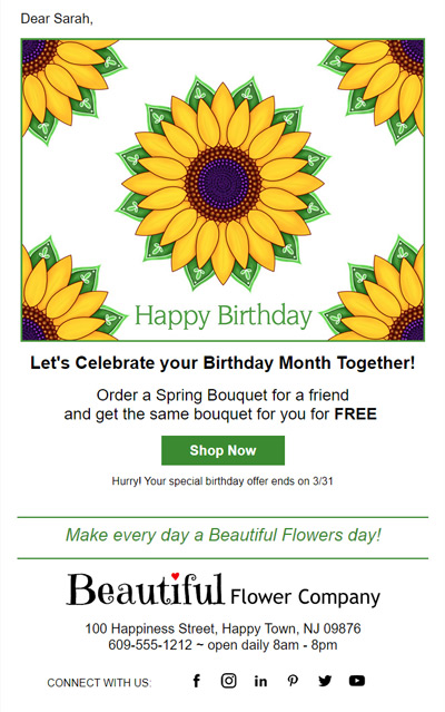 Customer Birthday eCards can be sent with coupons to email list subscribers.
