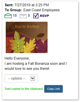 You can link directly to an invitation eCard by copying the link.