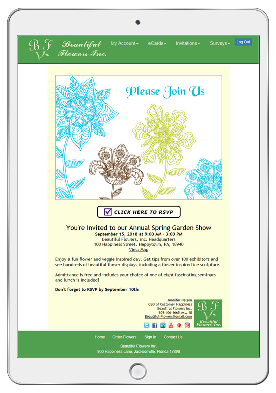 Your eCard recipients can click on the RSVP link to respond to your invitation.