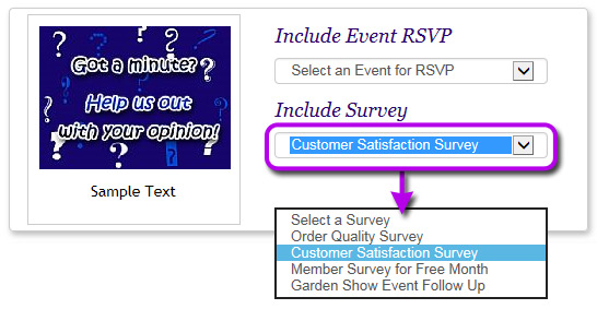 You can distribute your survey by eCard or link directly to the survey response form.