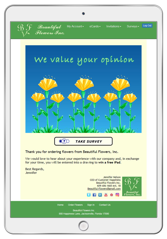 Here is an example of an eCard with a link to the online survey response form.