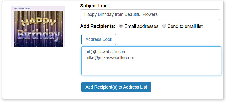 Address your eCard by entering email addresses or using your address book.