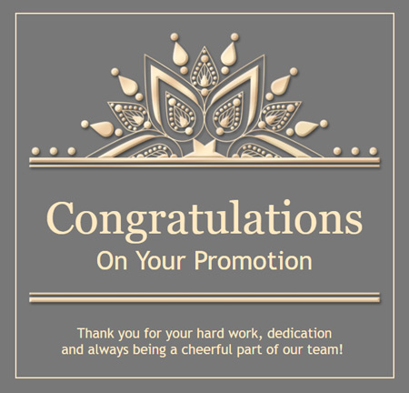 Congratulations eCard made from an email template.