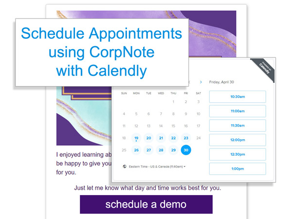 A Calendly link can be used in CorpNote emails.