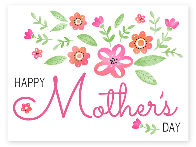 Mother's Day eCard in pinks and oranges simple flowers.