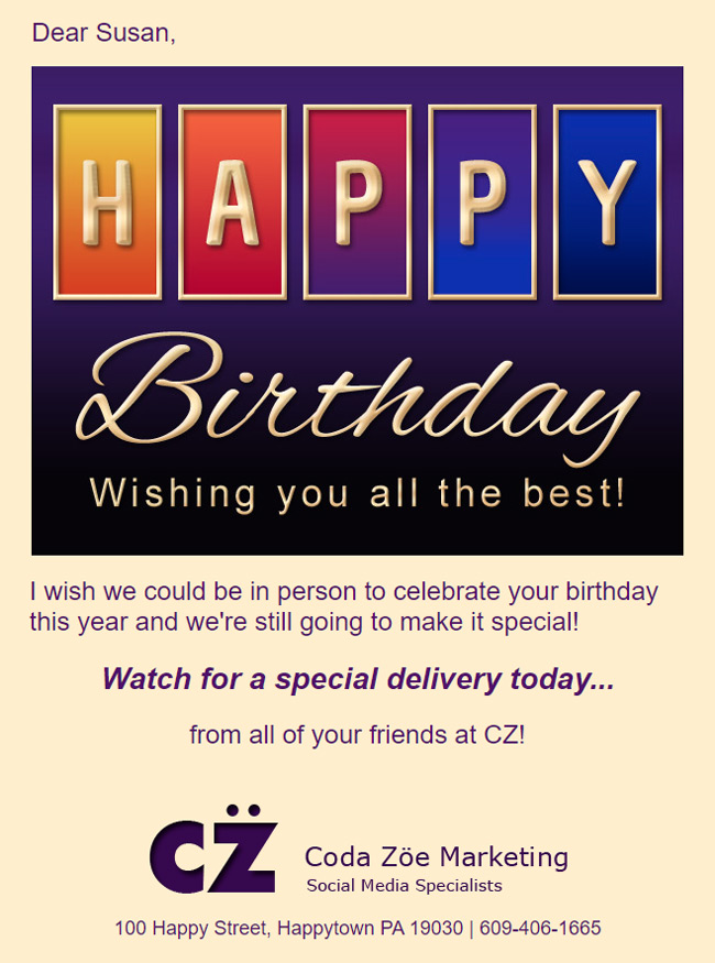 Birthday eCard customized with logo, colors and signature.