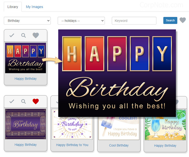 Selecting a birthday eCard and adding your custom birthday message.