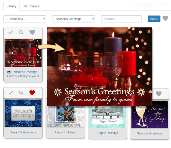 Selecting a Holiday eCard and adding your custom holiday message.