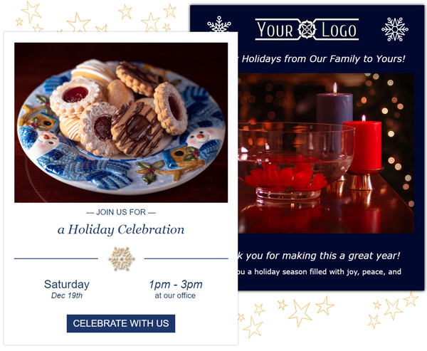 Holiday emails and eCards can be customized with your images.