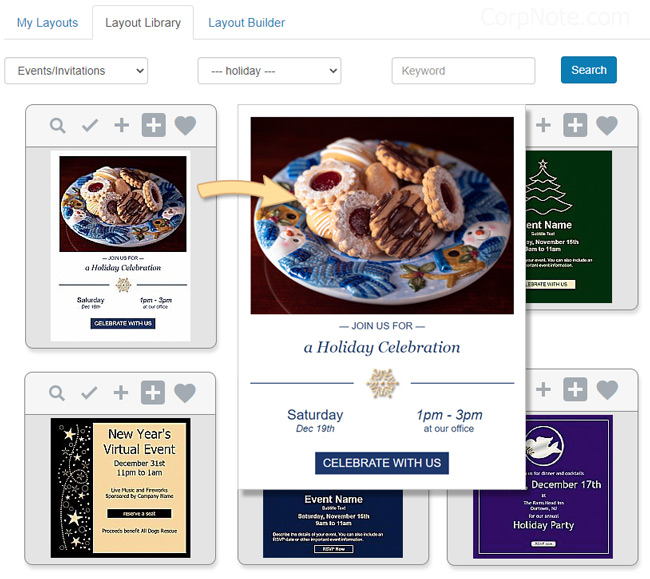 Holiday email customized as an invitation.
