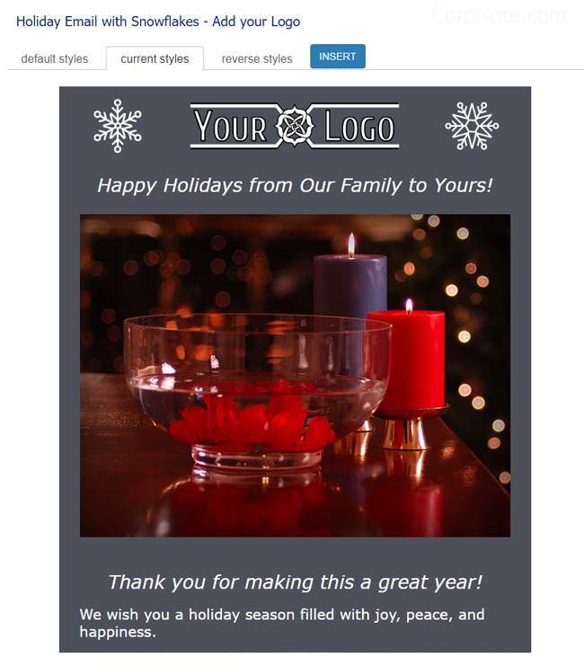 My holiday email template shown with my preferred colors.