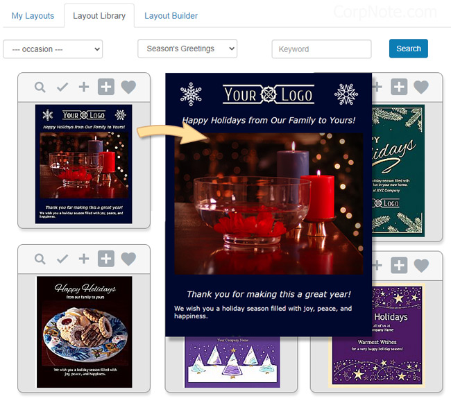 Holiday email templates can be customized.