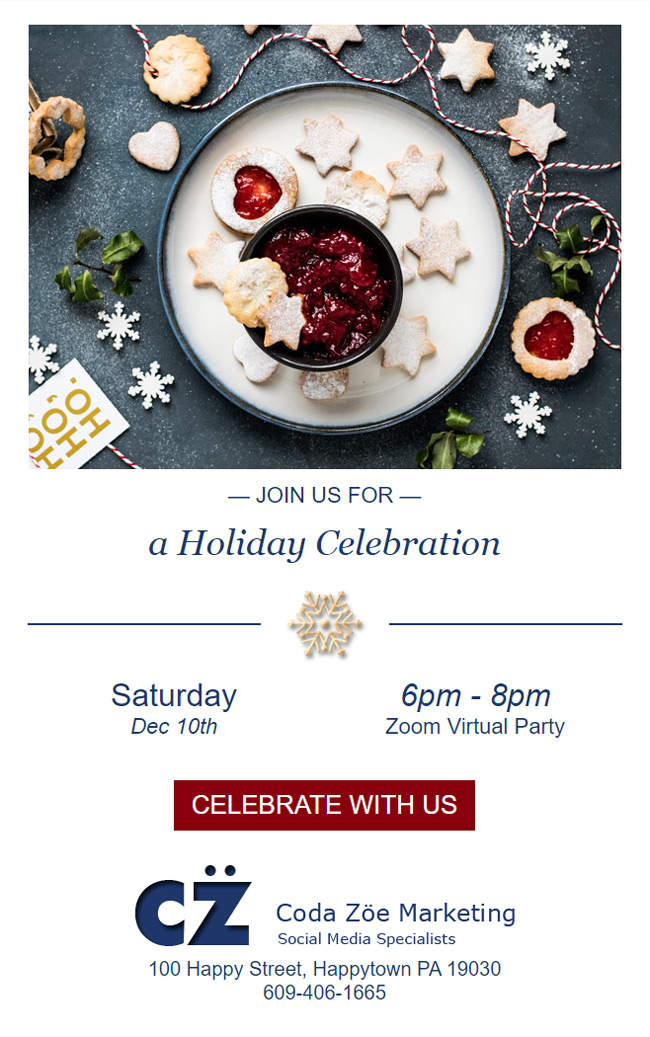 Holiday email invitation customized with my images.