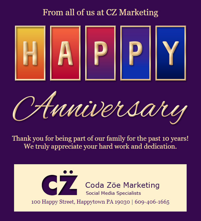 Anniversary email customized with colors, logo and signature.
