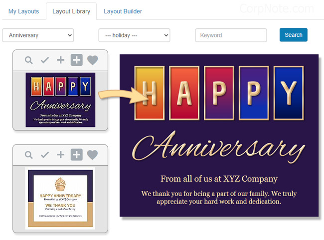 Work anniversary email templates can be changed to your colors.