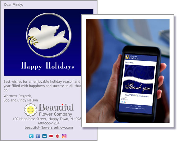 Use our eCard designs or upload your own.