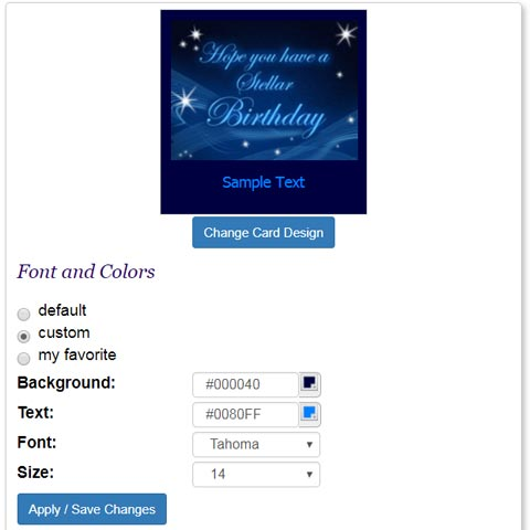 Easily select your eCard's font and color.