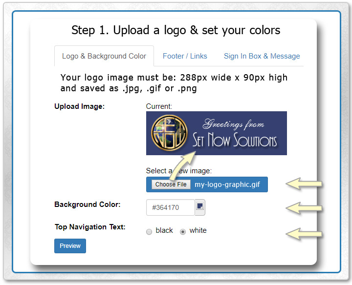Upload a logo and choose colors to seamlessly match your company brand when people view your eCards, invitations and surveys.